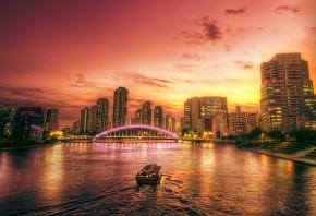 река, мост, дома, вечер, огни, закат