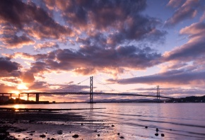 закат, мост, солнце, вода, река, вечер