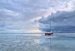 мель, лодка, пейзаж, песок, небо