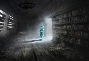 комната, полки, книги, библиотека, девочка