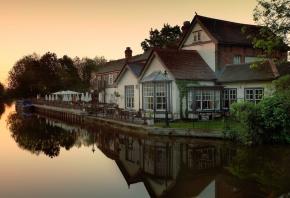 отражение, лодка, вечер, река, дома, Hertfordshire, закат