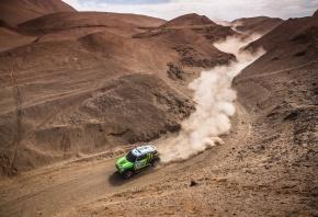 Mini Cooper, Пыль, Зеленый, Гонка, Внедорожник, Холмы, Пустыня