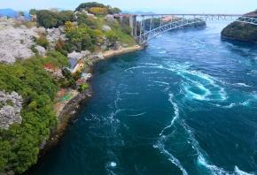Обои Япония, побережье, берег, мост, река, залив