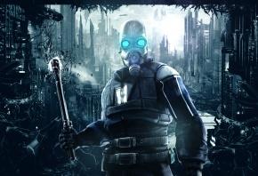 half-life, soldier, солдат, маска, дубинка