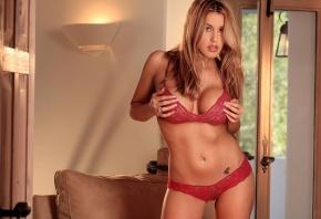 Обои красавица, блондинка, нижнее белье, красное, прозрачное, грудь