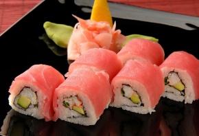 Обои суши, тарелка, рис, васаби, ролы