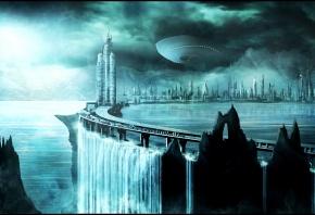 город, водопад, дорога, будущее, корабли