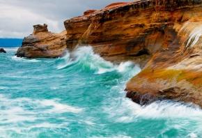 море, волны, скалы, пена, вода