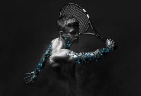 тенис, большой, ракетка, игра, мужчина