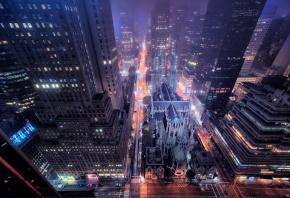 Обои New York, улица, здания, окна, ночь, дорога, огни