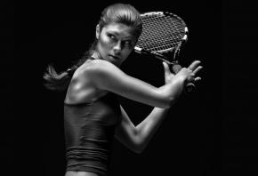 девушка с ракеткой, теннис, большой, коса