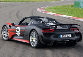 Обои Porsche, 918, Prototype, 2013, вид сзади, автомобиль, трасса