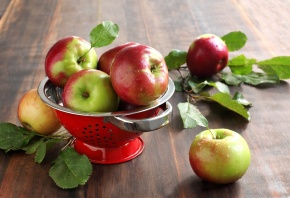 яблоки, фрукты, посуда, стол, листья