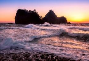 море, волны, скалы, солнце, закат