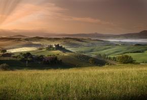поля, холмы, дома, трава, небо