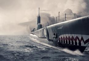 Submarine, подводная лодка, океан, нос