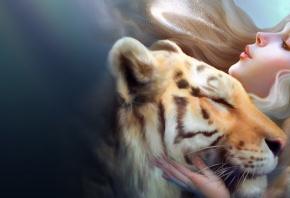 тигр, девушка, любовь, ветерок