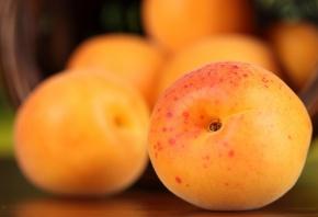 Обои фрукты, корзина, Персики, оранжевые, желтые