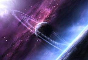 звезды, планеты, кольца, туманность, темнота