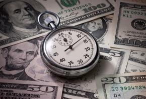 Обои часы, деньги, доллары, стрелки, время
