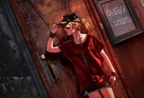 Обои девушка, жест, кепка, крест, улица, стена
