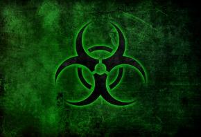 знак, биологическая, опасность, зеленый фон