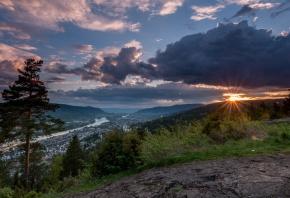 Норвегия, горы, деревья, облака, закат, склон, панорама