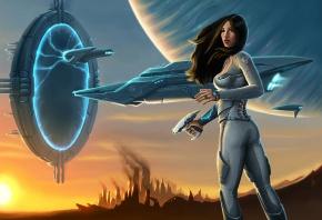 Обои Девушка, костюм, оружие, корабль, портал, планета