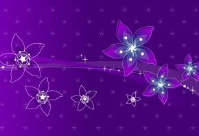 линии, абстакция, цветы, фон, фиолетовая