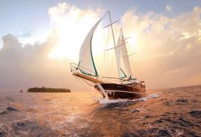 Обои корабль, парус, закат, солнце, море, вода, облака
