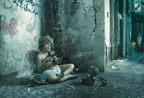 ангел, стрела, лук, улица, шутка