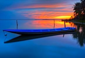 пляж, пальмы, закат, лодка, озеро
