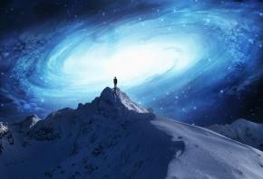Обои галактика, человек, снег, гора, космос, звезды