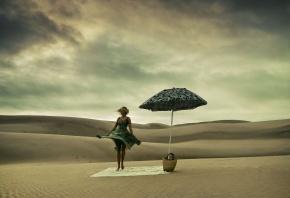 пустыня, зонт, песок, платье, красотка