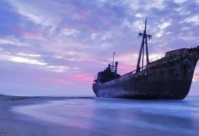 корабль, баржа, ржавый, небо, море