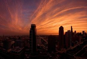 небоскребы, закат, вечер, дома, улицы