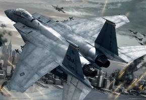 Обои ace combat 6, самолет, истребитель, город, война