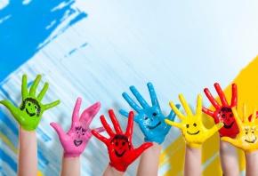 дети, руки, цвет стен, улыбок, рисование, счастье