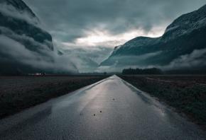 дорога, поля, горы, облака, деревня