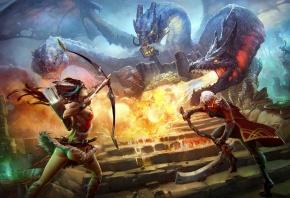 Обои битва, девушка, парень, оружие, монстр, гидра, лучница
