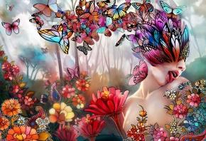 цветы, девушка, бабочки, Арт, язык