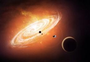 черная дыра, пространство, галактика, звёзды, планеты, корабль
