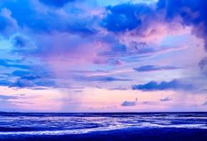 Обои Небо, Облака, Горизонт, Трава
