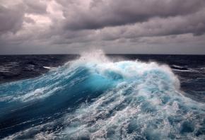 море, вода, волны, пучина, облака, шторм