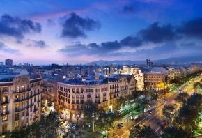 Spain, Barcelona, Испания, Барселона, вечер, дома, улица, дорога, архитектура