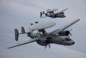 Обои E-2D, самолет ДРЛО, пара, облака, полет