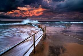 Обои пейзаж, небо, закат, море, океан, рассвет, солнце