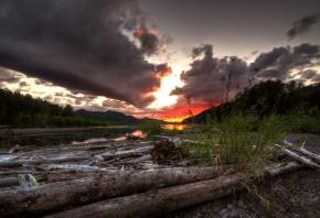 закат, река, пейзаж, деревья, облака