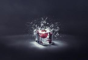 кубы, лед, вишня, осколки, свет