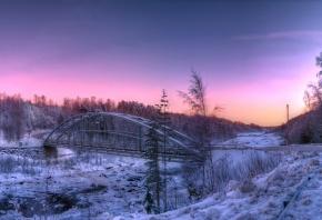 Обои мост, зима, снег, закат, дорога, лес